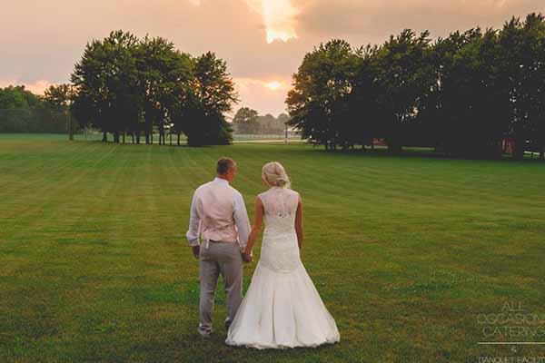 Country walk wedding sunset